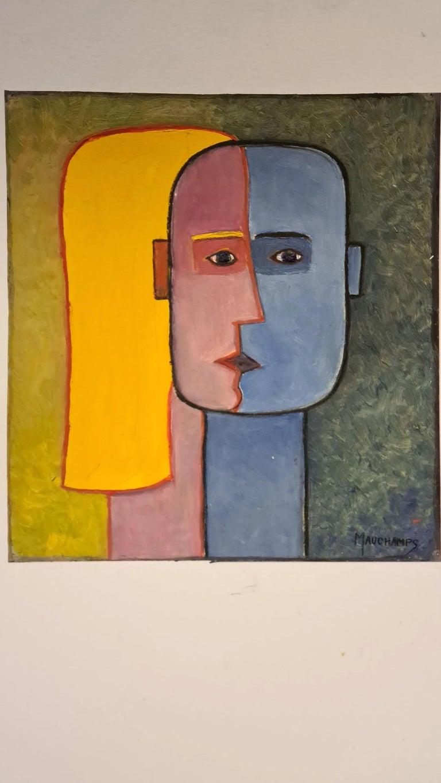 Modern Raymond Mauchamps 'Xx-Xxi' Composition Aux Deux Visages For Sale
