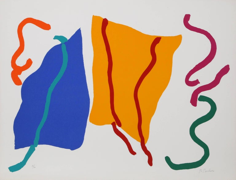 Colorful Abstract Silkscreen by Raymond Parker