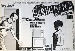 Raymond Pettibon Punk Flyer (Raymond Pettibon The Subhumans at Polish Hall)
