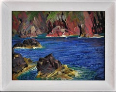 St Davids, Pembrokeshire, Wales.Coastline. Irish Sea. Original Oil Painting.1940