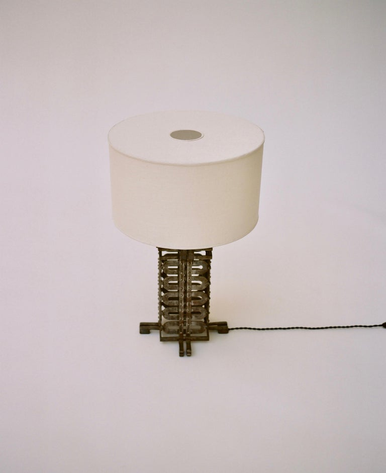 Art Deco Raymond Subes Ironwork Table Lamp, circa 1925 For Sale