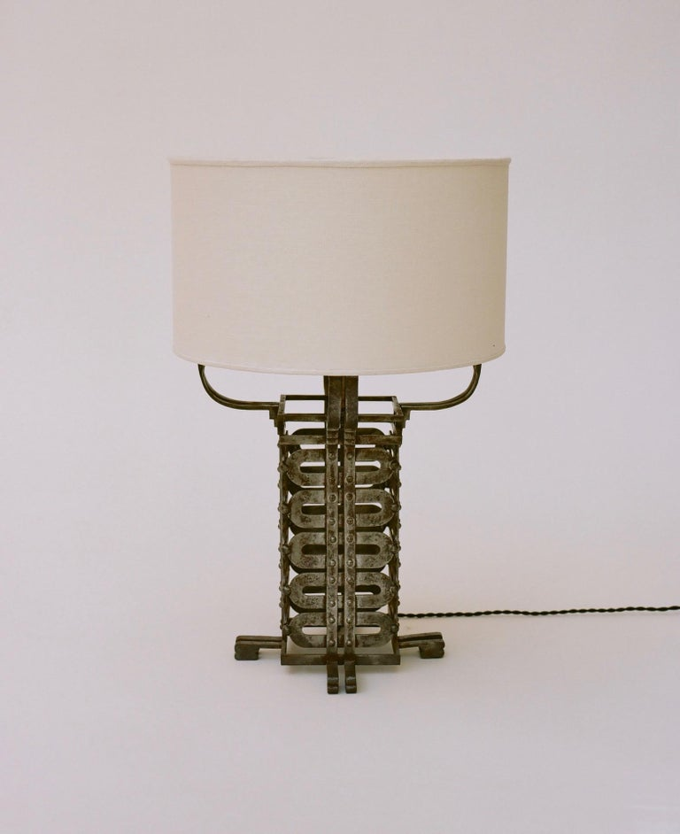 French Raymond Subes Ironwork Table Lamp, circa 1925 For Sale