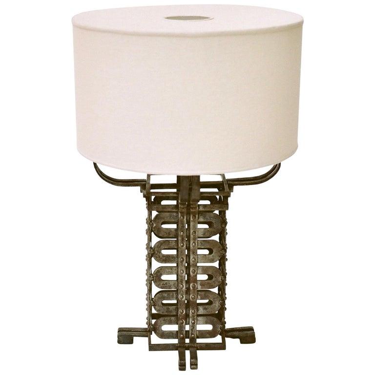 Raymond Subes Ironwork Table Lamp, circa 1925 For Sale