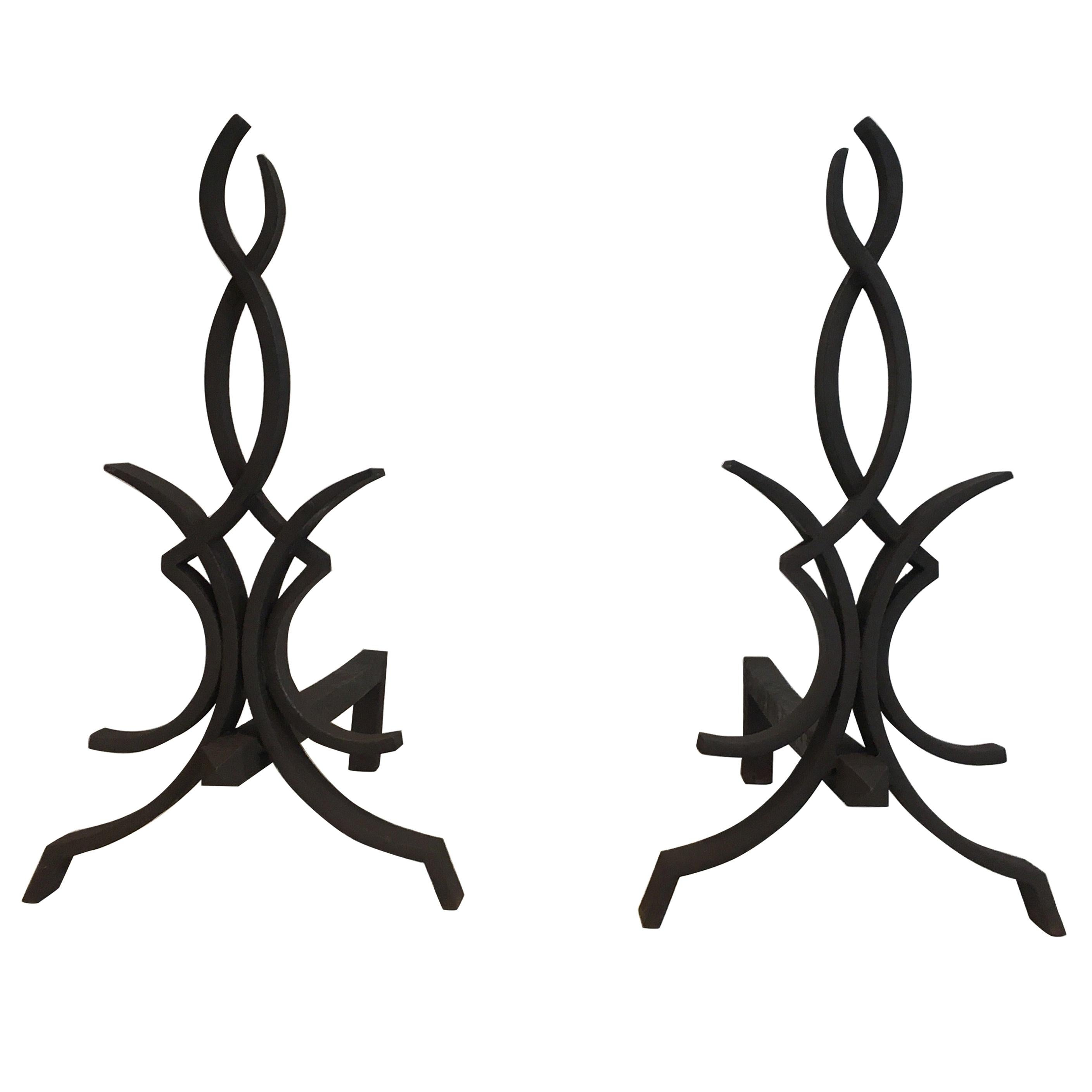 Raymond Subes, Pair of Wrought Iron Andirons, French, Circa 1940