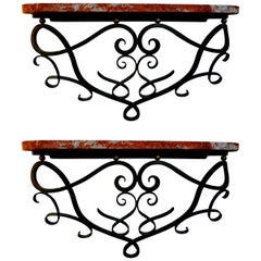 Raymond Subes Style French Art Deco Wrought Iron Wall Consoles-Near, Pair