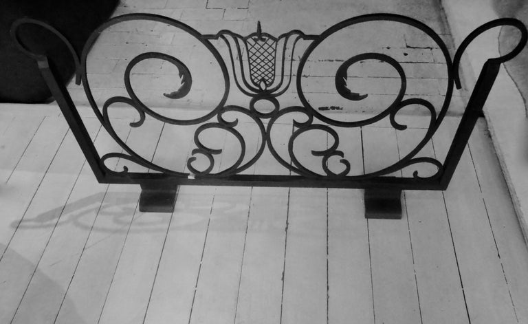 Blackened Raymond Subes Wrought Iron Firescreen, France, 1940 For Sale