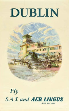 Original Vintage Poster Dublin Fly SAS & Aer Lingus Irish Air Lines Airport Art