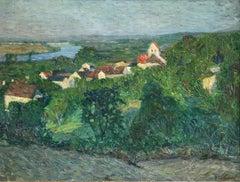 Automne-Valle de la Seine- 19th Century Oil, French River Landscape by Thibesart