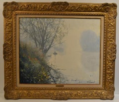 """Raymond Thibesart, """"Foggy Morning on the Seine with Sailboat 1930"""" Oil on Canvas"""