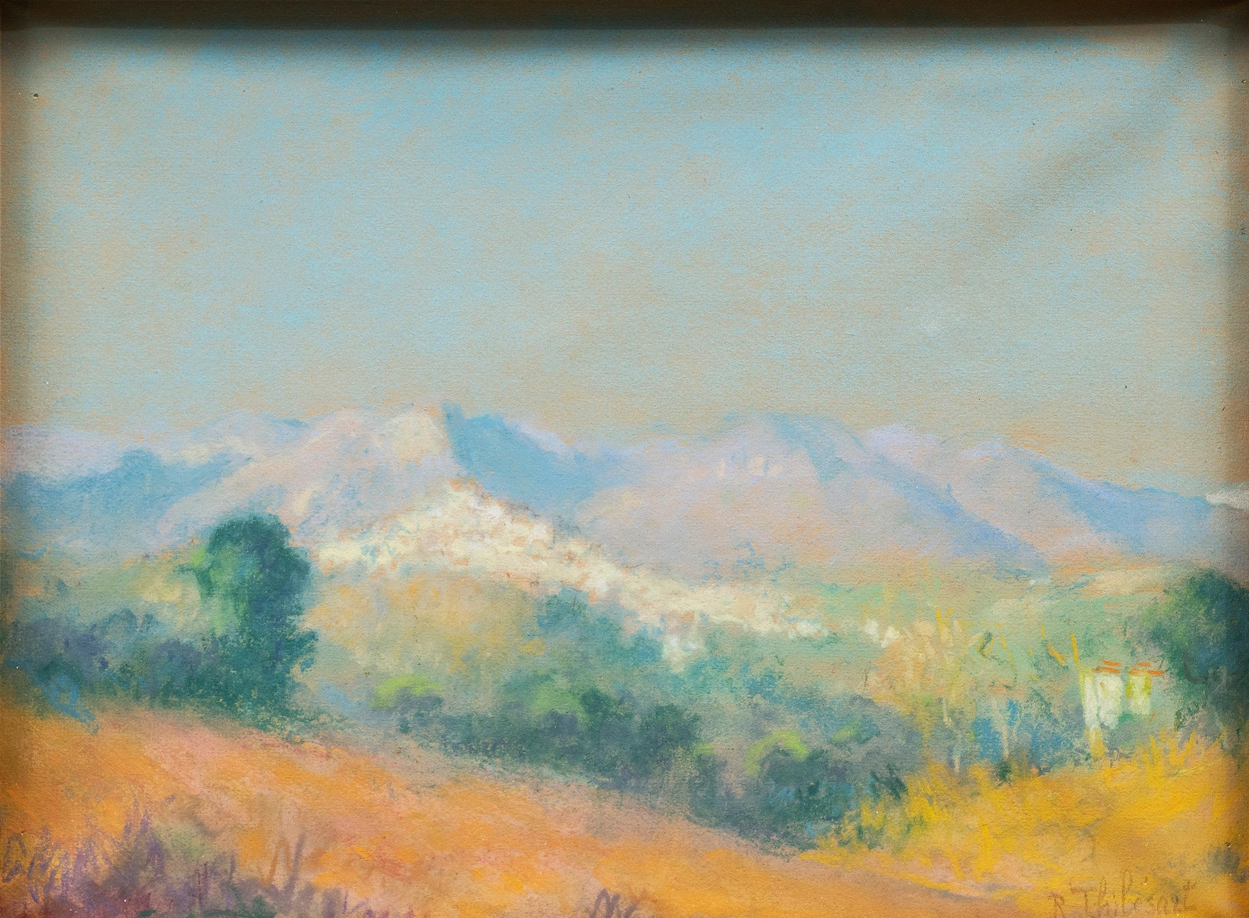 """Collines de Provence"" circa 1920s Raymond Thibesart (France, 1874-1968) Pastel"