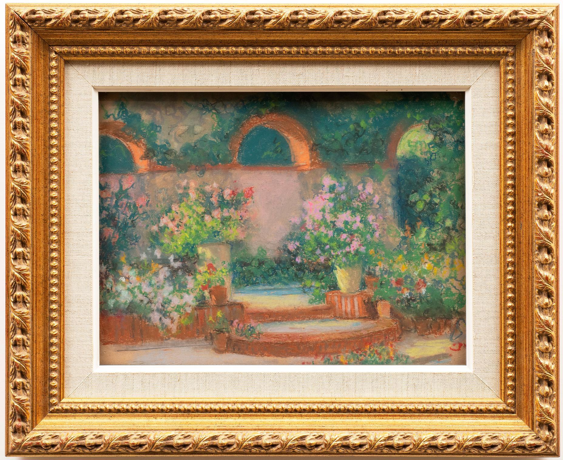 """""""Le Jardin a Vaux"""" circa 1920s Raymond Thibesart (France, 1874-1968) Pastel"""