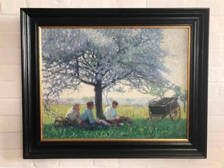 Raymond Thibésart, French Impressionist, A picnic under the Cherry blossom - Painting by Raymond Thibesart