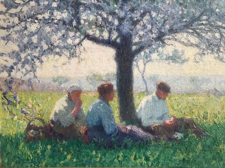 Raymond Thibésart, French Impressionist, A picnic under the Cherry blossom - Gray Figurative Painting by Raymond Thibesart