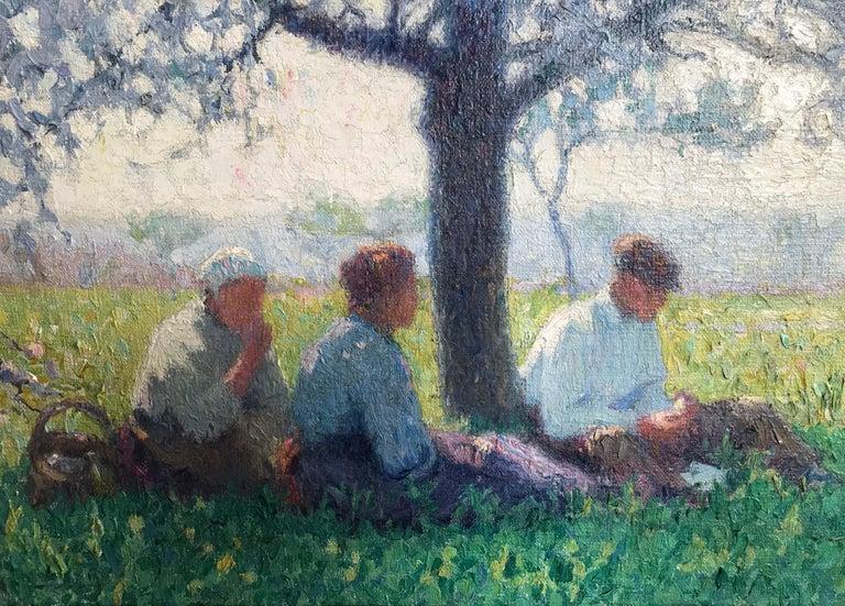 Raymond Thibésart (1874-1968) Le déjeuner sous un cerisier en fleurs Signed, inscribed with title and dated