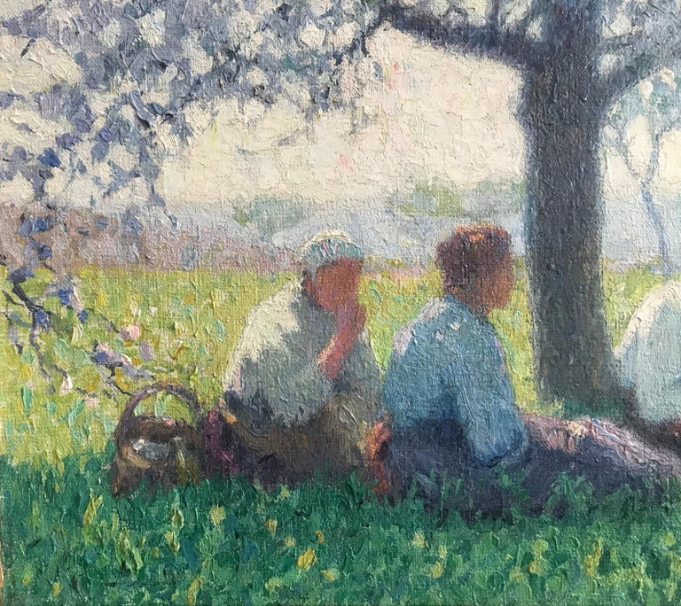 Raymond Thibésart, French Impressionist, A picnic under the Cherry blossom For Sale 1