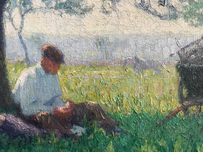 Raymond Thibésart, French Impressionist, A picnic under the Cherry blossom For Sale 2