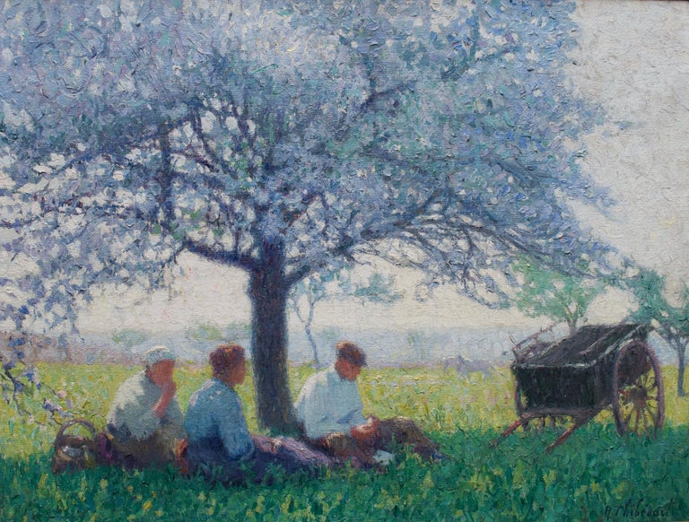 Raymond Thibesart Figurative Painting -  Raymond Thibésart, French Impressionist, A picnic under the Cherry blossom