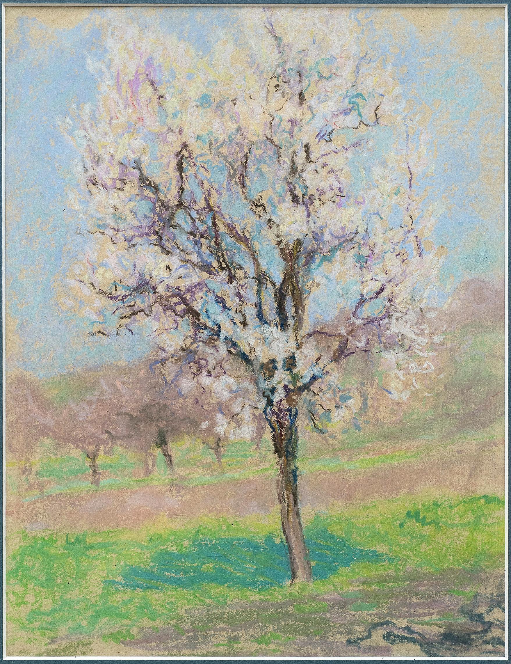 """Tree,"" circa 1920 Raymond Thibesart (France, 1874-1968) Pastel on paper"
