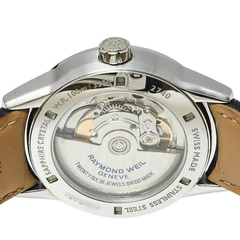 Contemporary Raymond Weil Black Stainless Steel Leather Freelanc  Men's Wristwatch 42.50 mm