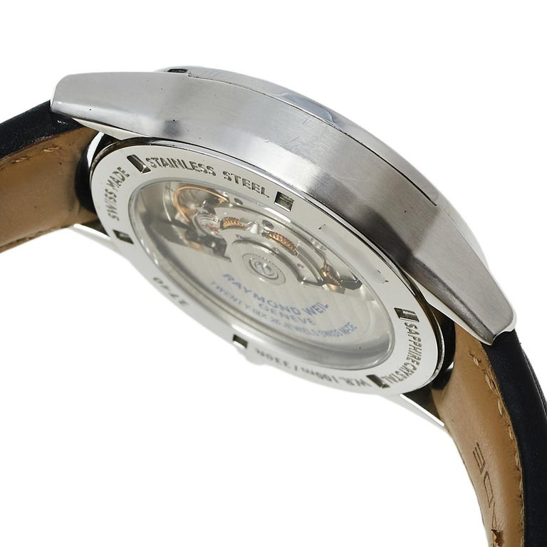 Raymond Weil Black Stainless Steel Leather Freelanc  Men's Wristwatch 42.50 mm 1
