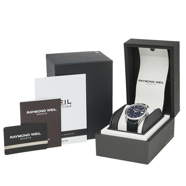Raymond Weil Black Stainless Steel Leather Freelanc  Men's Wristwatch 42.50 mm 2