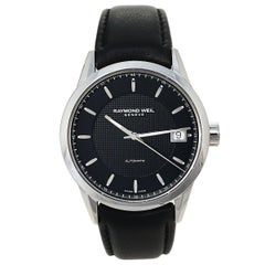 Raymond Weil Black Stainless Steel Leather Freelanc  Men's Wristwatch 42.50 mm