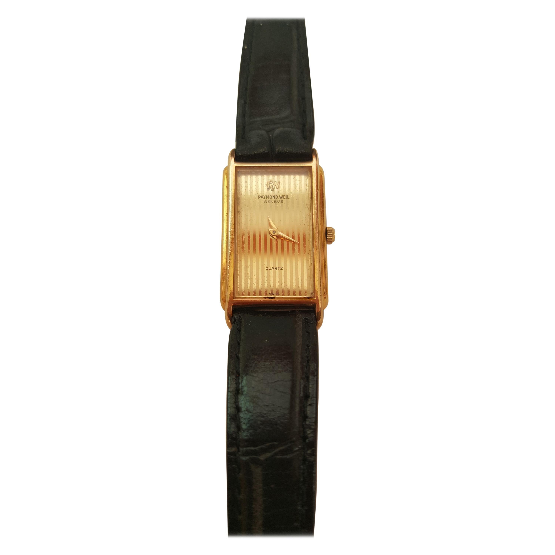 Raymond Weil 18kt Gold Filled Vintage Watch Gold Dial, Black Strap, Quartz, 5720