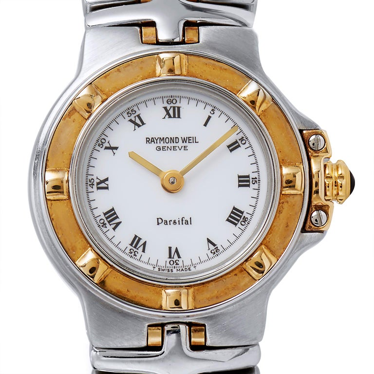 See yourself fitted with a classic Raymond Weil Parsifal Mini Ladies watch, made up of a stainless steel & yellow gold case and bracelet with double fold clasp. Fixed bezel. White dial with yellow gold hands and black index - Roman numerals hour