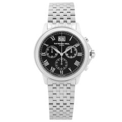 Raymond Weil Tradition Steel Black Dial Quartz Mens Watch 4476-ST-00200