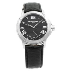 Raymond Weil Tradition Day Date Black Roman Dial Steel Mens Watch 9576-STC-00200