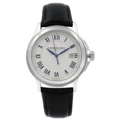 Raymond Weil Tradition White Dial Leather Steel Quartz Mens Watch 5578-STC-00300