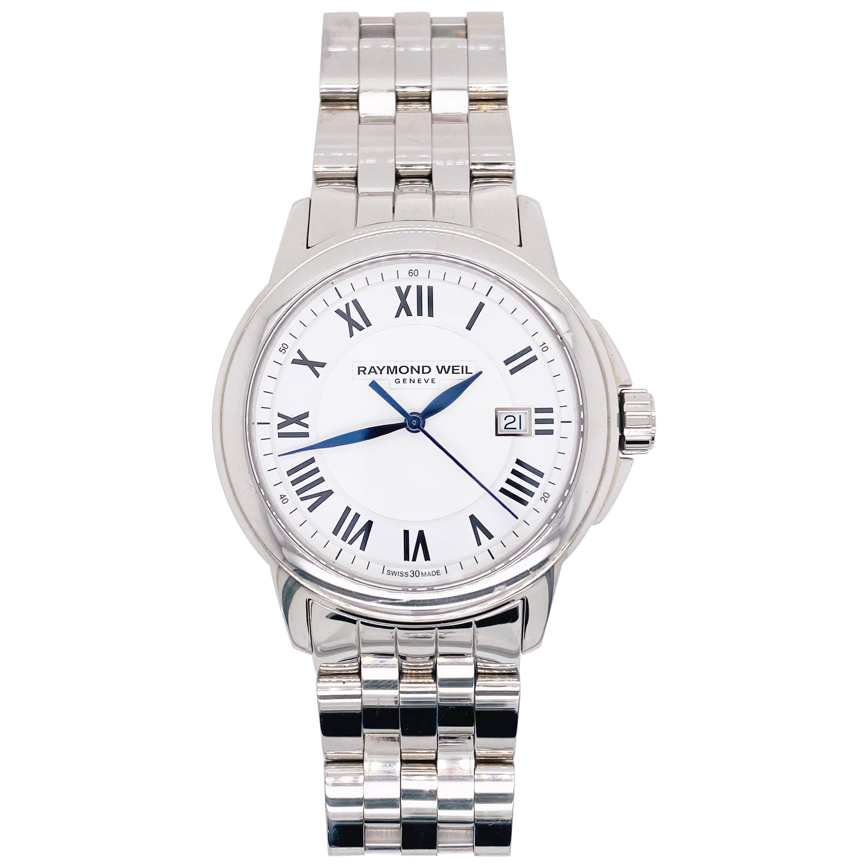 Raymond Weil Watch, Genève Stainless Steel Sapphire Crystal, Swiss Made, Blue RW