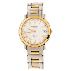 Raymond Weil White Two-Tone Stainless Steel Saxo 9521 Men's Wristwatch 36 mm
