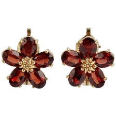 Raymond Yard 14 Karat Gold and Garnet Clip-On Flower Earrings