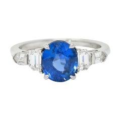 Raymond Yard 3.20 Carats No Heat Sapphire Diamond Platinum Ring GIA