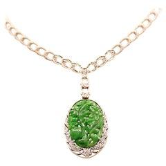 Raymond Yard Art Deco Jade Diamond Necklace