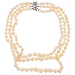 Raymond Yard Art Deco Pearl Diamond Platinum Multi Strand Necklace