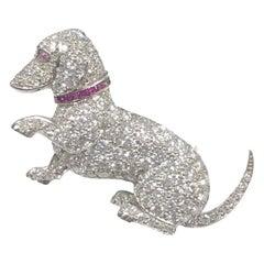 Raymond Yard Art Deco Platinum and Diamond Whimsical Dachshund Dog Brooch