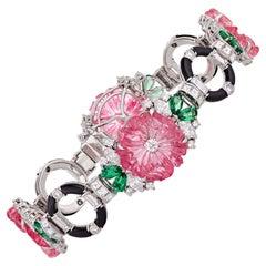 Raymond Yard Carved Pink Tourmaline Bracelet, 21.95 Carats