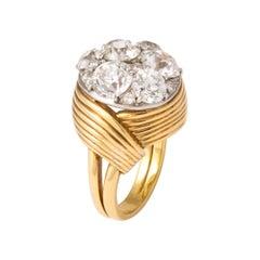Raymond Yard Diamond Cluster Gold Cocktail Ring