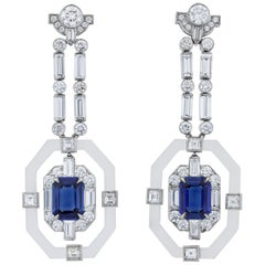 Raymond Yard Untreated Ceylon Sapphire and Diamond Earrings, 3.95 Carat