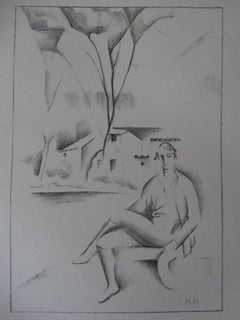 Hippolyte : Woman in a Cubist Landscape - Stone lithograph, 1930
