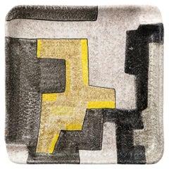 Raymor Ashtray, Ceramic, Geometric, Yellow, Gray, White, Black, Signed