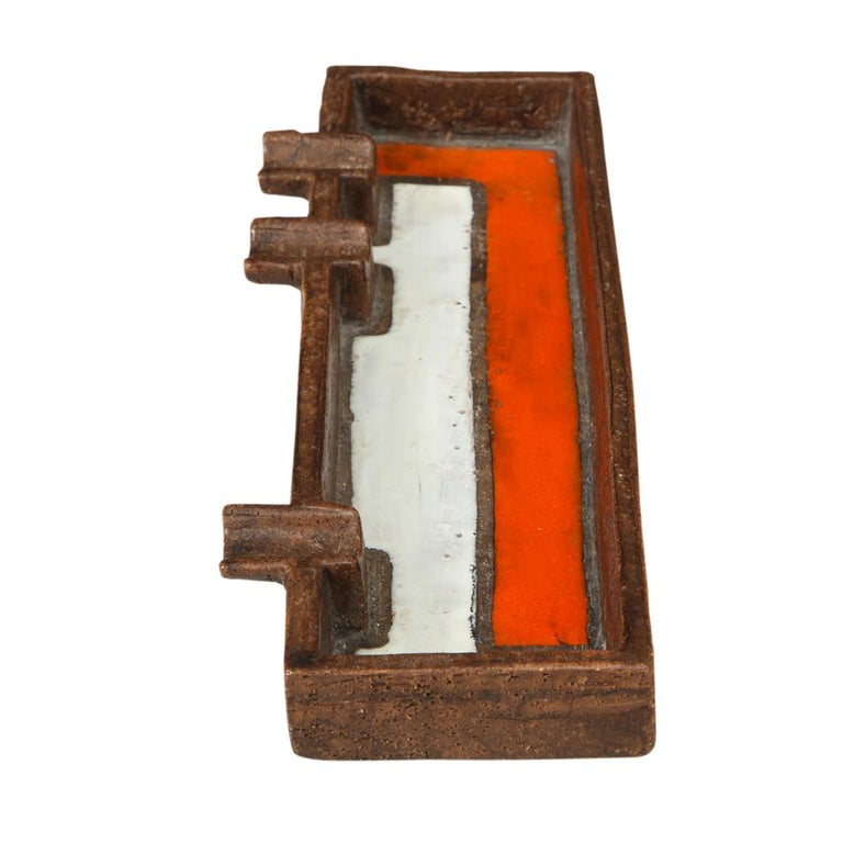 Mid-20th Century Raymor Bitossi Ashtray, Mondrian Orange, Brown and White, Signed For Sale