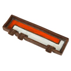 Raymor Bitossi Ashtray, Mondrian Orange, Brown and White, Signed