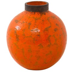 Raymor Bitossi Ball Vase, Ceramic, Orange with Brown, Signed