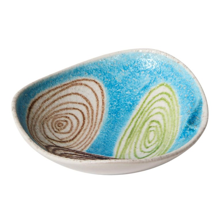 Mid-Century Modern Raymor Bitossi Bowl, Ceramic Blue Abstract Spirals, Signed For Sale