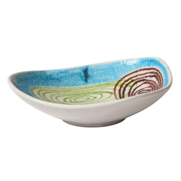 Italian Raymor Bitossi Bowl, Ceramic Blue Abstract Spirals, Signed For Sale