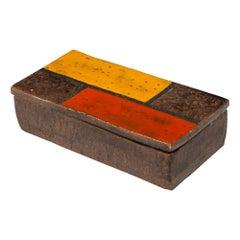Raymor Bitossi Box, Ceramic, Mondrian Orange Red Yellow Brown Signed