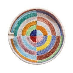 Raymor Bitossi Ceramic Ashtray Geometric Stripes Circles Signed, Italy, 1960s